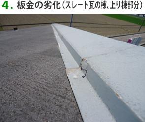 4.板金の劣化(スレート瓦の棟、上り棟部分)